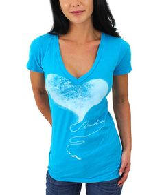 Another great find on #zulily! Aqua Plug V-Neck Tee - Women by 7th Revolution #zulilyfinds