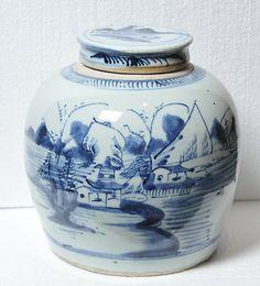 Ginger Jar Lidded Pot 18c Antique Chinese Blue White Hand Painted Porcelain   eBay