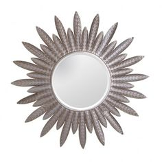 Espejo redondo decoración Plumas plata 81 cm IX50395 en Nuryba.com tu tienda de muebles y decoracion online
