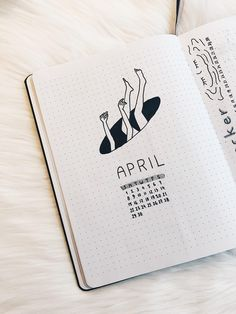 My April Cover Page & Spread. Black and White Vibes. : bulletjournal
