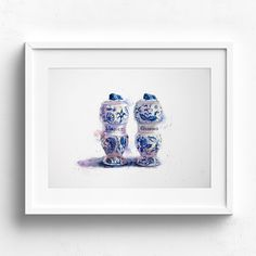 Watercolour painting of antique spice shakers. Allspice and cinnamon. Blue and White. Watercolor And Ink, Watercolour Paintings, Spice Shaker, Sweet Spice, Gouache, Original Artwork, Fine Art Prints, Delft, Antiques
