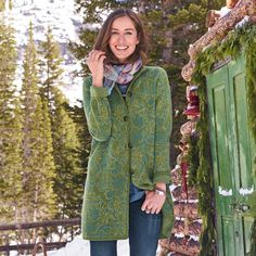 """SPANISH MOSS SWEATER COAT--Ancient and organic forms shift and swirl over our floral jacquard long cardigan, accented with filigree buttons and a flattering stand collar. Merino wool/nylon. Dry clean. Imported. Exclusive. Sizes XS (2), S (4 to 6), M (8 to 10), L (12 to 14), XL (16). Approx. 35""""L."""