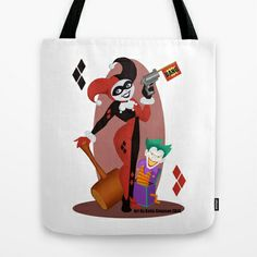 Harley Quinn  Tote Bag by Katie Simpson  - $22.00 Here is Harley Quinn as one of my Vector Pinups. She is holding her giant Hammer and fake pistol while standing next to a Joker in the box. (Mr.J, Batman the Animated Series iPhone case skin iPod iPad laptop t-shirts hoodies hoody cards clock tank top onesies mug clock tote bag)