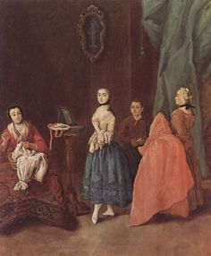 Lady at the Dressmaker -Artist: Pietro Longhi  Style: Rococo  Genre: genre painting  Technique: oil  Material: canvas  Gallery: Ca' Rezzonico, Museo del Settecento, Venice  Tags: clothing-and-textile, markets-and-shops