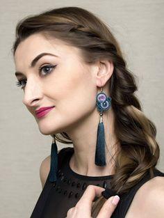 Turquoise Green Tassel Earrings Long Soutache Jewelry by AMdesignSoutache