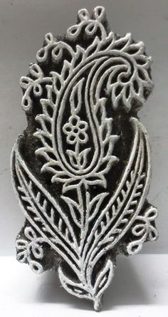 Indian Wooden Hand Carved Textile Printing on Fabric Block Stamp Paisley Leaf | eBay