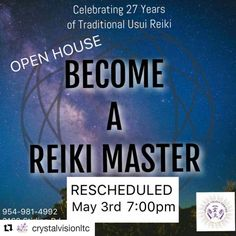 Credit to #crystalvisionltc  ・・・ Just a reminder this Wednesday ATTENTION Advanced Practitioner's have you ever thought or wondered about our Reiki Master program, if so join us this Monday April 24th for an OPEN HOUSE where Myrna and Lee Ann will be answering any and all of your questions (rsvp is a must) hope to see you there #reiki #reikischool #reikihealer #reikimaster #usui #lightworker  #HollywoodTapFL #HollywoodFlorida #HollywoodFL #HollywoodBeach #DowntownHollywood #Miami…