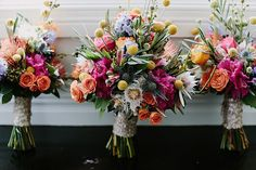 Wonderfully vibrant wedding bouquet featuring blushign bride protea | Vibrant Eclectic Byron Bay Australia Wedding With Organic Detailing | Photograph by Heart and Colour  See the full story at http://storyboardwedding.com/eclectic-byron-bay-australia-wedding-organic-details/