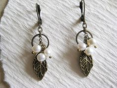 Pearl Dangle Earrings by TheLadyLindy on Etsy, $16.00