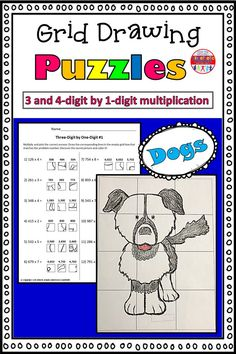 These grid drawings are a fun and creative way for your kids to practice their multiplication skills! Kids simply find the box that corresponds with the correct multiplication answer and transfer it into the square on the blank grid. Each page leads to a different picture of a dog to color.  This set includes three pages of 3-digit by 1-digit practice, and three pages of 4-digit by 1-digit practice. Multiplication Grid, Multiplication Activities, Math Worksheets, Math Activities, Math Resources, 5th Grade Math, Second Grade, Math Answers, Kinesthetic Learning