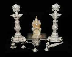 Silver utensils for puja