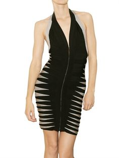 HERVÉ LÉGER - TWO TONE SPANDEX DRESS - LUISAVIAROMA - LUXURY SHOPPING WORLDWIDE SHIPPING - FLORENCE