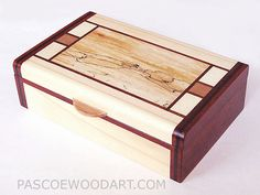 Handmade small keepsake box - small wood box made of White Aspen, Padauk, Spalted Maple Ebony wood