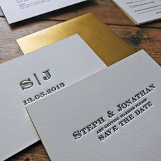 gold edge monogram letterpress save the date by wolf & ink | notonthehighstreet.com