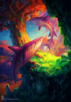 Eduardo Garcia | colorful like this but koi fish..opium induced lucid dreaming scene