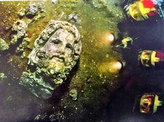 Head of a god from Thonis-Heraklion Sunken City, Dark Queen, Heraklion, North Coast, The Darkest, Egypt, God, Painting, Dios