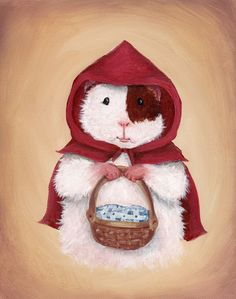 Little Red Riding Hood Guinea Pig Art Print by WhenGuineaPigsFly