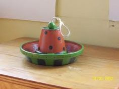 Clay pot bird feeder.