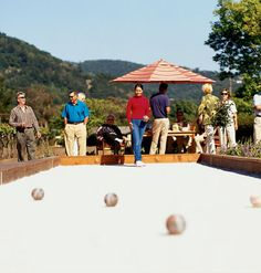 For after-dinner fun with friends, make like a Roman and roll bocce balls toward a target pallino. Long familiar in places like California's Napa Valley, bocce is appearing in backyards across the West