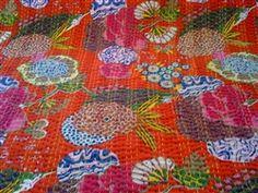 Modern Kantha Style fabric - RED