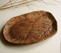 """Купить Тарелка """"Следы на песке"""" - коричневый, авторская керамика, оригинальная тарелка, модная посуда"""