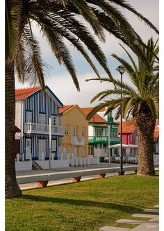 Costa Nova do Prado, Aveiro, Portugal. The houses by the beach are painted to look like beach huts Prado, Around The World In 80 Days, Travel Around The World, Around The Worlds, Visit Portugal, Portugal Travel, The Beautiful Country, Beautiful Places, Spain Culture