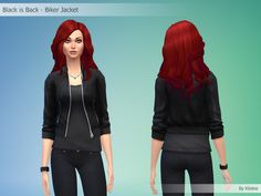 Black is Back - Biker Jacket By Kliekie #Download #Sims4 #TS4 #MM #CC #MMCC #TS4MM #TS4Finds #CustomContent #Sims4CC #Clothing #Casual #Generic #Women #Female #YoungAdult #Adult #Elder #Black