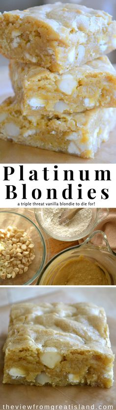 "These White Chocolate Macadamia Nut Blondies are the bombshells of the blondie world. I call them ""Platinum Blondies' and I love them. You will too."