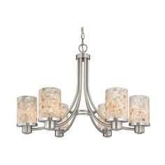 Modern Chandelier with Mosaic Glass | 588-09 GL1026C | Destination Lighting