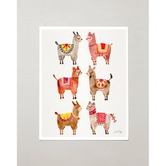 "PRODUCTS :: LIVING AND DESIGN :: Accessories and Decorations :: Prints :: Alpacas – Signed Watercolor Painting Print by CatCoq. Artwork Printed on 8.5""x11"" High-Quality Archival Epson Paper. Alpaca, animals, Peru"