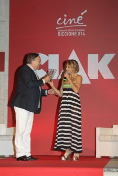 The beautiful actress Paola Minaccioni claims her prize for Cine'Ciak d'Oro wearing Fabi shoes.  Shop the shoes on Amazon bit.ly/1CKUBAt or at first store at South Ex-1 #Delhi