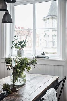 add a touch a greenery Window View, Greenery, Windows, Table Decorations, Black And White, Interior, House, Inspiration, Furniture
