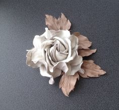 White off leather flower brooch,Handmade flower, Leather flower, Bridesmaid flower, Mother of the bride flower, Mothers Day gift, Gift