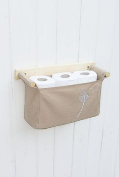 Wall hanging organizer - with 1 bin - beige color linen cotton and embroidered dandelion in the fitting nook Home Projects, Sewing Projects, Bathroom Storage Solutions, Toilet Storage, Door Storage, Storage Cabinets, Kitchen Storage, Hanging Organizer, Hanging Storage