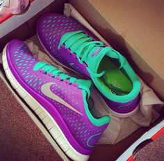 Pruple ans blue nike shoes