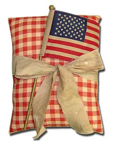 Americana Patriotic Red Check Pillow with Flag by oldesaltbox