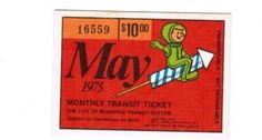 Monthly pass from City of Winnipeg (Manitoba, Canada) Transit System (1975)