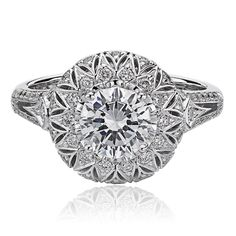 Round Crisscut center surrounded by round diamonds, Christopher Designs Perfect Engagement Ring, Engagement Ring Settings, Engagement Rings, Christopher Designs, Diamond Rings, Round Diamonds, Jewelry Accessories, Fine Jewelry, Fashion Jewelry