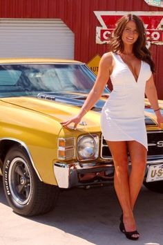 Chevelle SS The highways would be far less hazardous, if drivers were safer than their rides. Perhaps, drivers'd be more focused double-clutching a floor mounted stick linked to an unsynch'd gearbox. Chevy Chevelle Ss, Chevrolet, Sexy Autos, Summertime Girls, Chevy Girl, Girls In Mini Skirts, Sweet Cars, Car Girls, Hot Cars