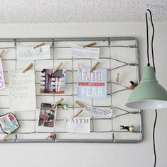 Turn an old baby bed spring into an adorable memo/inspiration board for your home office...