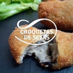 Receta de croquetas de setas Hamburger, Food And Drink, Bread, Savory Snacks, Puff Pastries, Cooking Recipes, Meals, Brot, Baking