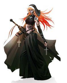 f Vampire Cleric ArtStation - Sister Abygael - Wild Wild Vampires, Alexandre Chaudret Female Character Design, Character Design References, Character Design Inspiration, Character Concept, Character Art, Concept Art, Character Ideas, Fantasy Warrior, Fantasy Rpg