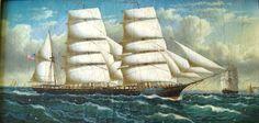 Framed Oil Painting Clipper ship , realism | Marine Art Nautical Art Maritime Art Folk Art