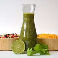 Cilantro Lime Vinaigrette from Taste of Texas    serves 4-8    Ingredients:    1 bunch cilantro, stems removed, washed    2 jalapenos, seeds and ribs removed    3 cloves garlic    juice of 2 limes    1 Tablespoon honey    2 teaspoons sea salt    1 1/2 cups extra virgin olive oil    1/2 cup white balsamic vinegar    Place all ingredients in a blender and puree until smooth. Great dressing for steak salad!