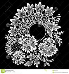 Lace Cipcle Frame Vector - buy this stock vector on Shutterstock & find other images. Lace Patterns, Embroidery Patterns, Clipart, Illustrator Design, Lace Drawing, Lace Art, Lace Painting, Owl Tattoo Design, Mandala