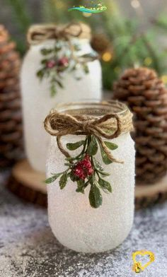 DIY Snowy Mason Jar Luminaries If you are looking for Christmas crafts to make for adults, these DIY Snowy Mason Jars are a fabulous gift idea! They're also pretty enough to sell. This easy project is perfect for adults but also…More #diymasonjar #diyideas #diy<br> Mason jars come in handy on different occasions. They can be used for food storage or even for decorations. Here for you, are some absolutely incredible and creative ways and ideas that you can use mason jars. These DIYs are… Mason Jar Christmas Crafts, Diy Christmas Decorations For Home, Christmas Crafts To Make, Mason Jar Crafts, Decoration Crafts, Christmas Makes To Sell, Crafts With Jars, Christmas Glasses, Christmas Centerpieces