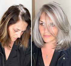 Stylist shows gorgeousness of grey hair instead of covering it up Wedding Hair And Makeup, Hair Makeup, Bridal Makeup, Makeup Art, Grey Hair Transformation, Curly Hair Styles, Natural Hair Styles, Grey Hair Natural, Natural Beauty