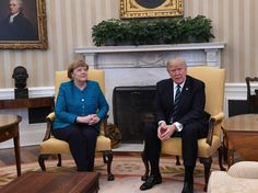 Petulant man-child Trump refuses to shake German Chancellor Merkel's hand. WHAT AN ASS. HOW IS THIS THE AMERICAN PRESIDENT? HOW?