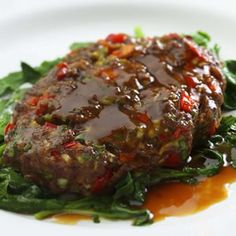 Asian Salisbury Steaks with Sauteed Watercress - Fitnessmagazine.com