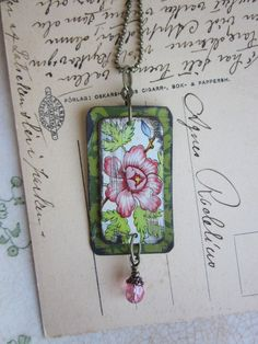 Tin Jewelry Framed Dahlia Pendant Tin for the Ten by TheMadCutter, $31.00